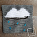 "8"" Tapestry Rain Cloud Afghan Square pattern"