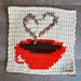 8″ Tapestry Heart and Coffee Cup Afghan Square pattern