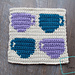 "8"" Tapestry 4 Coffee Cups Afghan Square pattern"
