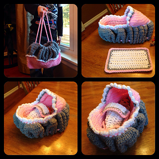 Crochet Cradle Basket Baby Carrier Free Crochet Pattern - Video | 320x320
