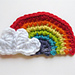 Rainbow with Heart Clouds Applique pattern