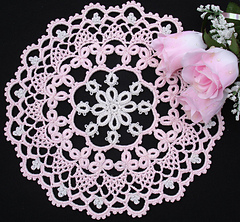 Crochet tatted lace floral doily