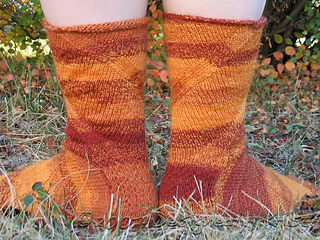 Back View of Double Spiraling Tall Tibetan Flame Socks