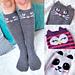Check Meowt! Cat, Owl, and Panda Knee High Socks pattern