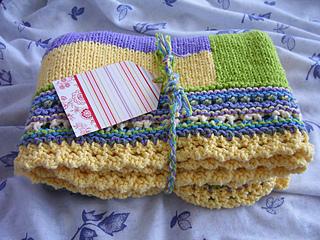 tetris baby blanket with mock crochet edging - ready to go