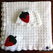 Strawberries and Cream Baby Blanket and Hat Set pattern