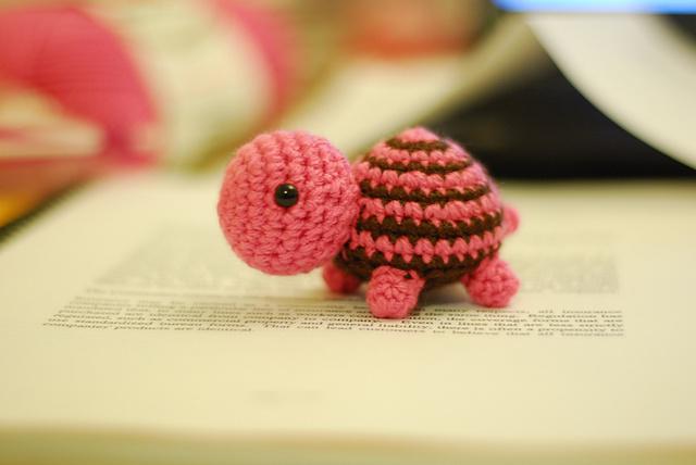 Pair of Nano Crocheted Turtle Tortoise Earrings extreme miniature crochet
