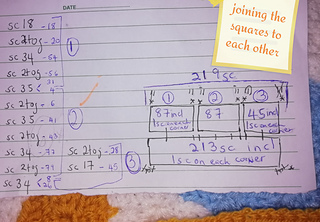 the math of joining the pieces together as there are different stitch counts :sleepy: