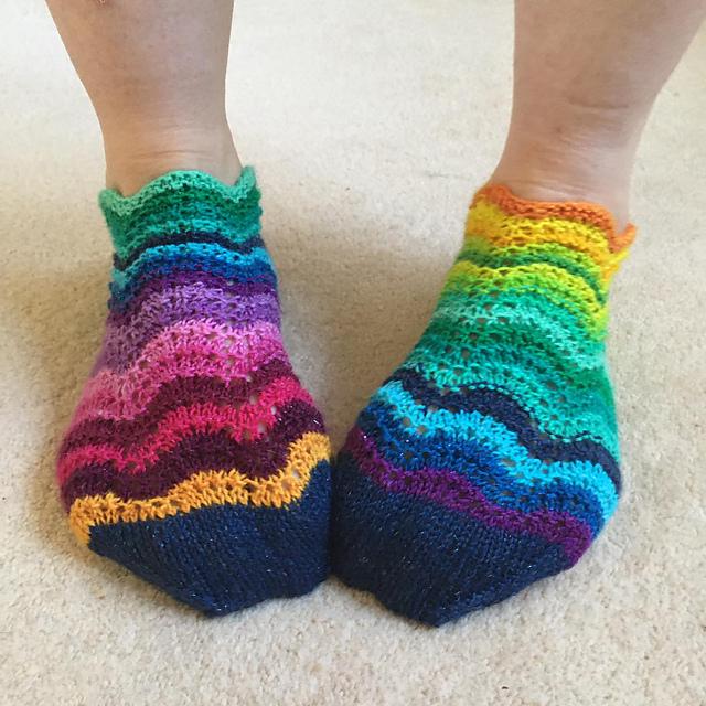 Ravelry: Rainbow Ripples Trainer socks