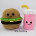 Kawaii Hamburger and Milkshake pattern