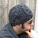 his black cabled hat pattern