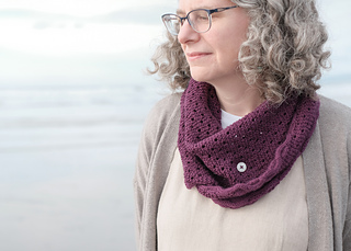 Cascade Heritage sample, worn buttoned as cowl