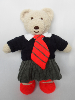 KNITTING PATTERN Teddy Bear Clothes Girls school uniform build bear factory doll