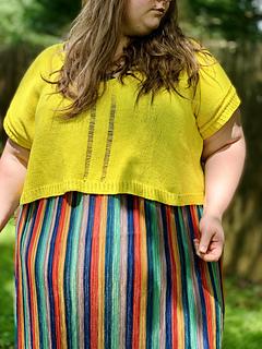 """65"""" garment on 53"""" chest, body length knit to 9.75"""" before upper body split."""
