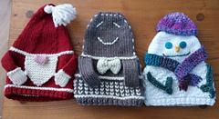 L to R Santa Tea Cozy, Gingerbread Man Tea Cozy and Snowman Tea Cozy