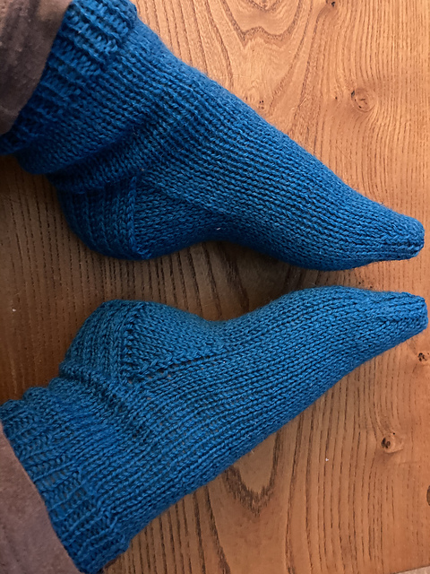 Basic socks knitted in Teal yarn, Aire Valley DK by West Yorkshire Spinners