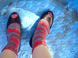 vintage apron socks in the kiddie pool