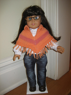 """Collared Striped Poncho for 18"""" Doll"""