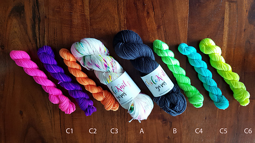 original sample yarn, colour order