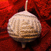 christmas  ball with mittered squares pattern