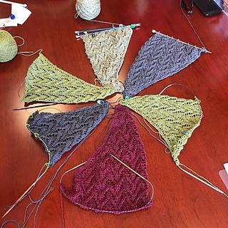 Monday knitting group progress - mine is at 6 o'clock