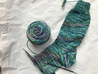44 rounds done on the foot of sock #1