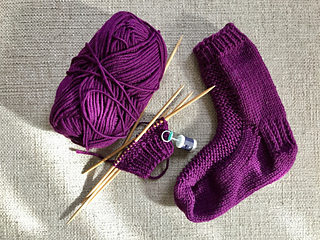 for Sam - one sock done and second barely begun
