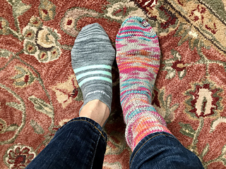 Feb 12 - sock #1 is done!  and sock #2 (not shown ;-) is ready for the heel flap