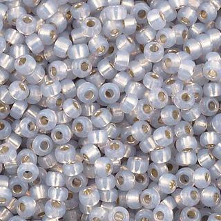 Miyuki Gilt Lined Opal size 6 seed beads.