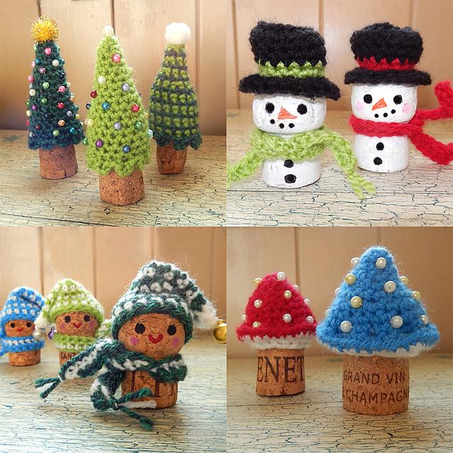 Wine Cork Christmas Crafts.Ravelry Christmas Corkers Pattern By Moji Moji Design