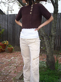 Front of Cropped Croche Cardigan