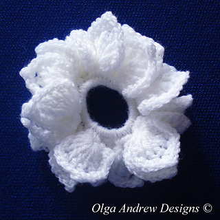 Crocheted White with Sparkles Popcorn Scrunchie