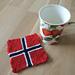 Norwegian Flag Mitered Coaster pattern