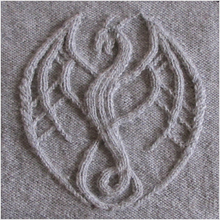 Knitted in aran/worsted weight with 4.5mm / US 7. Motif 26/24 cm 10¼/9½ inch heigh and wide.
