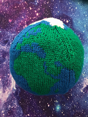 Large Knitted Globe Pattern by Ruth Haydock