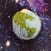 Mini Knitted Globe Pattern by Ruth Haydock