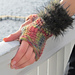 Eva, textured fingerless mitts edged with fur pattern
