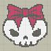 'Pretty goth' skull with bow pattern