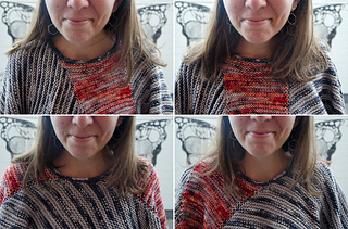 This photo shows 4 ways to position the neckline for different styling.