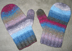 Felted Noro Two-Needle Mittens