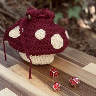 Mini Dice Bag with Block Printed Mushroom
