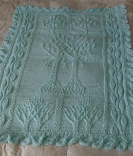 wheel chair blanket knitted baby blanket Afghan baby blanket Tree of Life Green