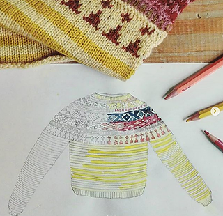 The pdf pattern comes with an outline drawing of the sweater, so you can colour it in and try out your colours before you start to knit.