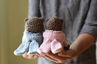 "Knitting Pattern For Sleepy Bear In Rabbit Suit Height 7/"""