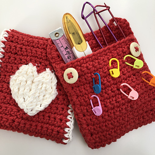 Embossed Heart Pouch by Sweet Thing Crochet