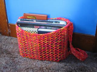 mesh backpack, full of books
