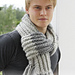0-970 Scarf with fringes and false English rib pattern