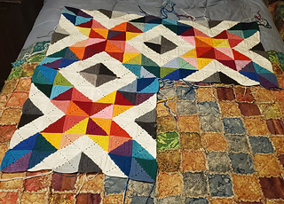 Here are three blocks. I will make the 4th, sew together with the loose one, and then sew in the panels together.