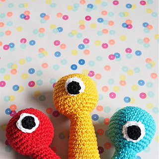 Baby monster rattle, in all colors