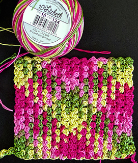 Needs a few more rows and then a solid-colored border.  Side A of square. (Stitch pattern is reversible.)